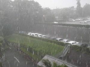 どしゃ降りの雨