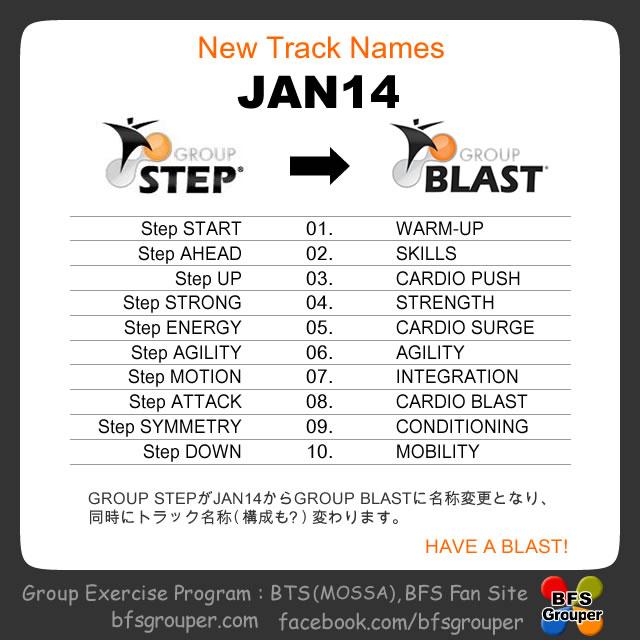 GroupStepとGroupBlastのトラック名称