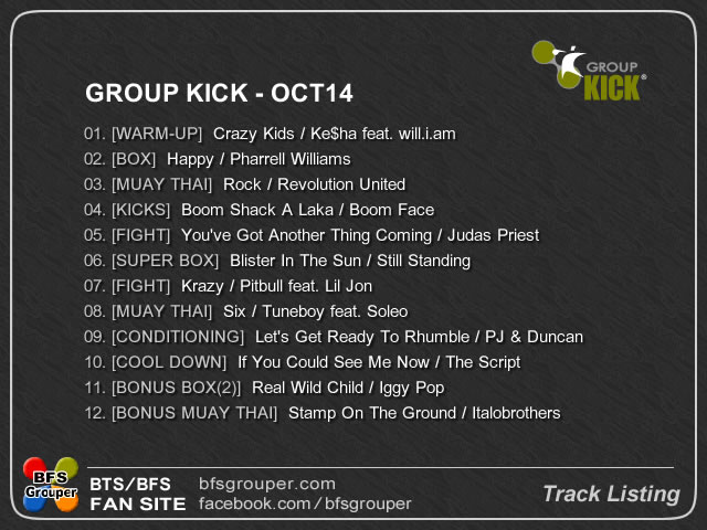 GroupKick Oct14 曲リスト