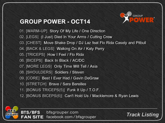 GroovePower Oct14 曲リスト