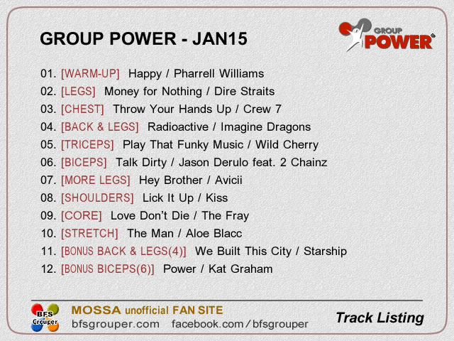 GroupPower Jan15 曲リスト