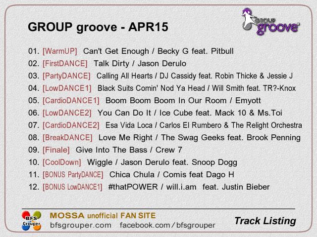 GroupGroove【Apr15】曲リスト