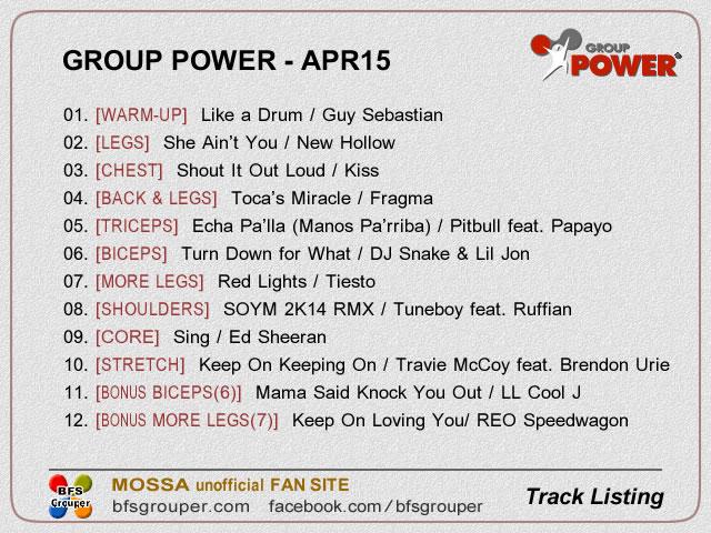 GroupPower Apr15 曲リスト