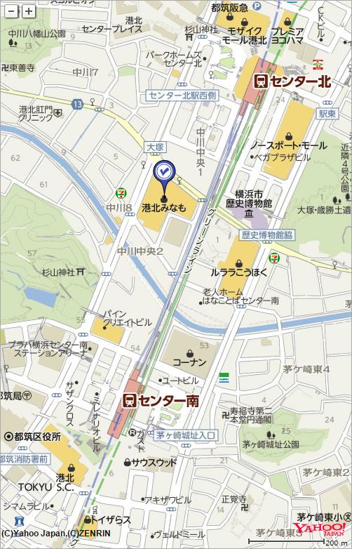 オアシス港北店への地図