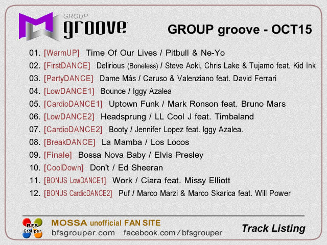 GroupGroove【Oct15】曲リスト