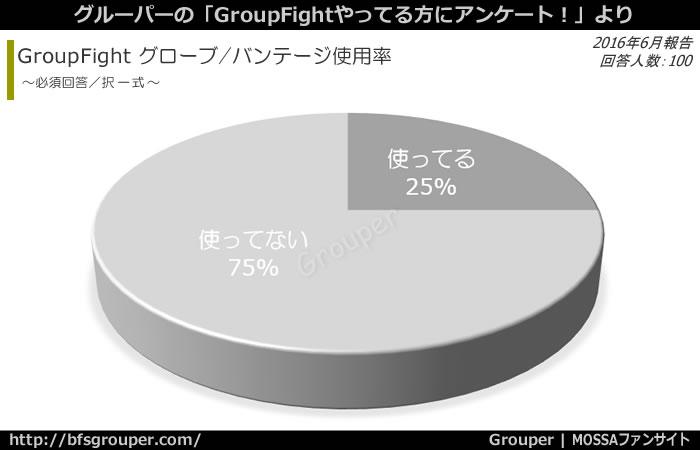 GroupFight/グローブやバンテージ使用率=使ってる:25%、使ってない:75%