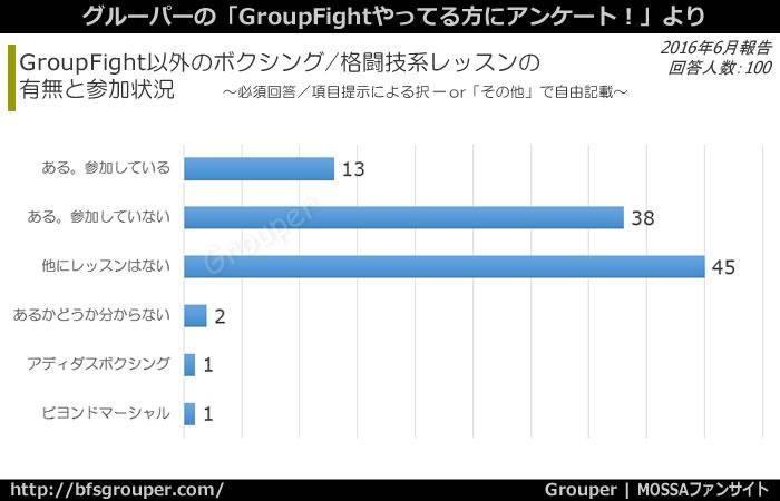 GroupFight以外の格闘技系レッスンに参加:13%