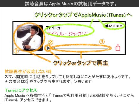 試聴音源はApple Musicの試聴用データです。