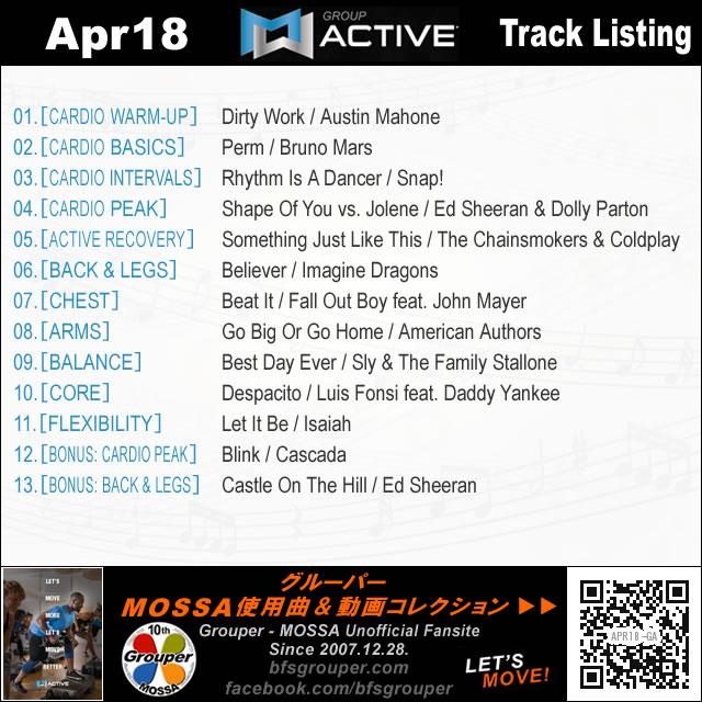 GroupActive【Apr18】曲リスト/元曲動画&試聴&曲購入