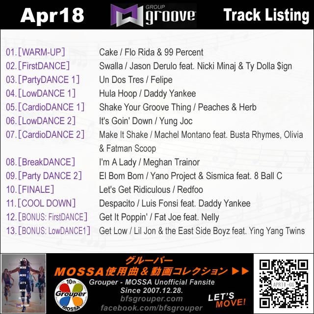 GroupGroove【Apr18】曲リスト/元曲動画&試聴&曲購入