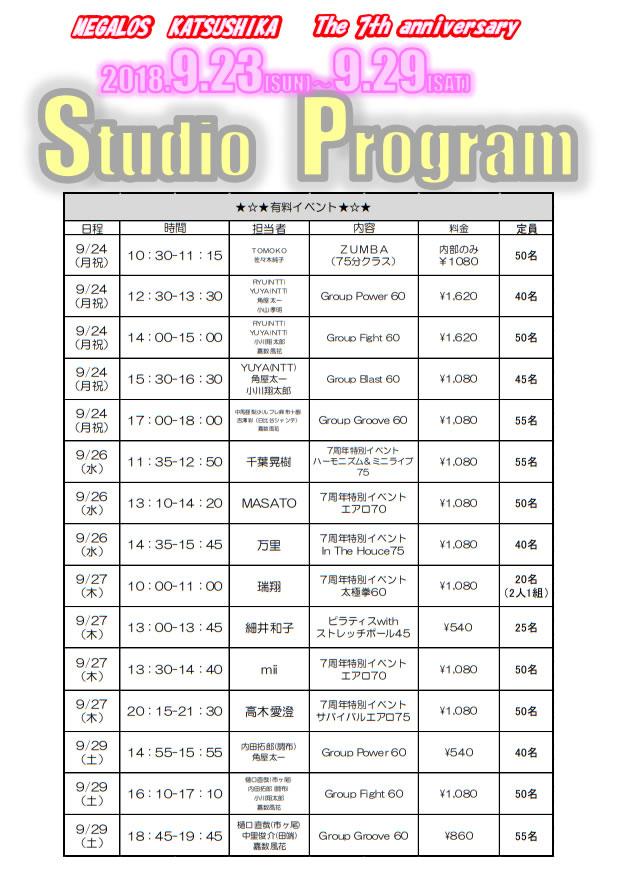 メガロス葛飾7周年有料イベント申込詳細2