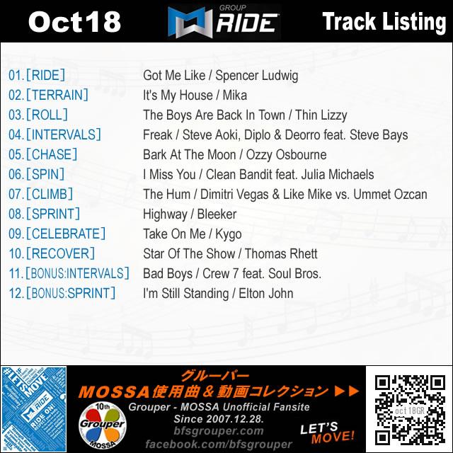GroupRide【Oct18】曲リスト/元曲動画&試聴&曲購入