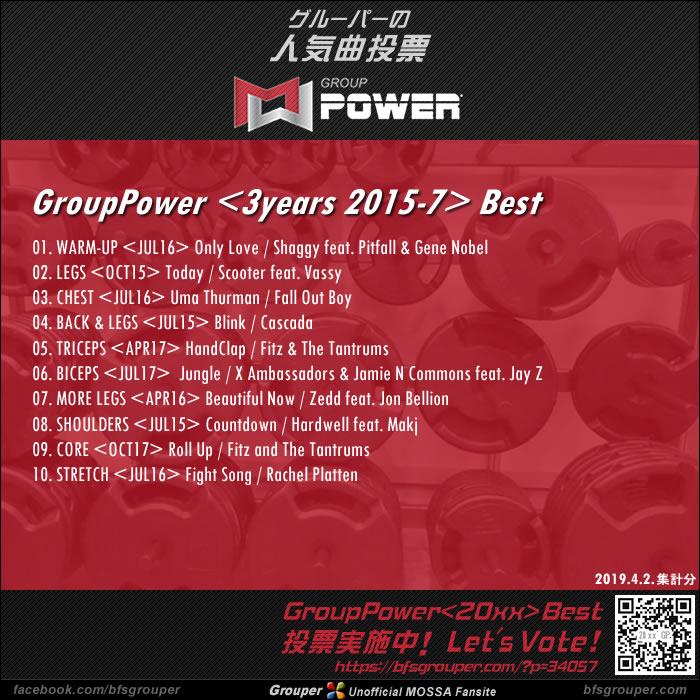 GroupPower<3years / 2015-17>ベスト発表!(2019.4.2.集計分)