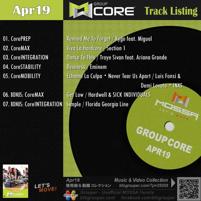 GroupCore【Apr19】曲リスト/元曲動画&試聴&曲購入