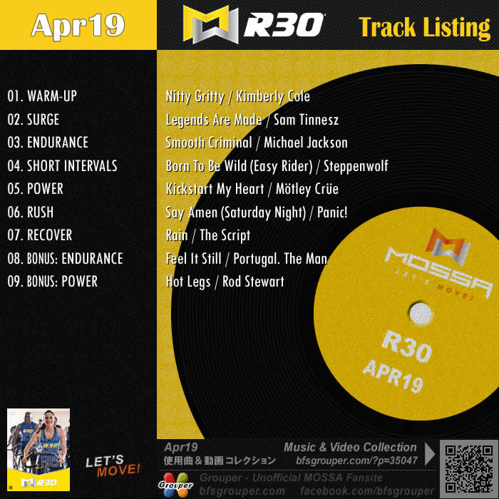 R30【Apr19】曲リスト/元曲動画&試聴&曲購入