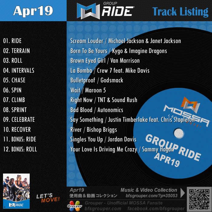 GroupRide【Apr19】曲リスト/元曲動画&試聴&曲購入