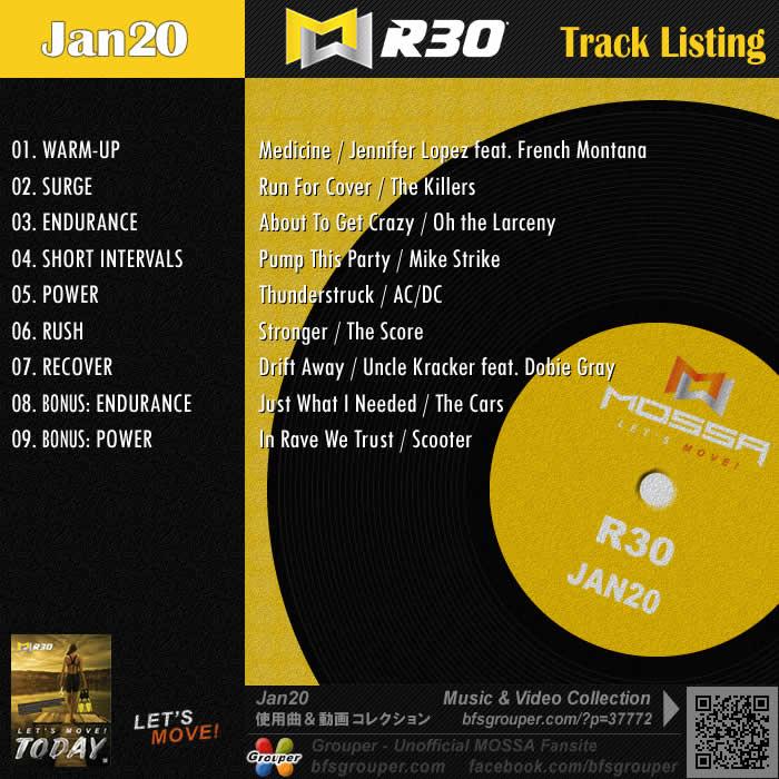 R30【Jan20】曲リスト/元曲動画&試聴&曲購入