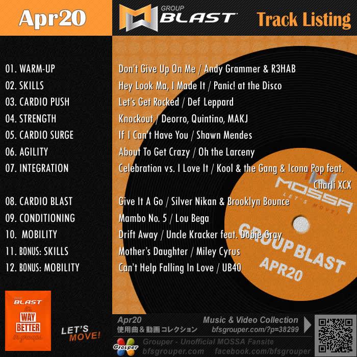 GroupBlast【Apr20】曲リスト