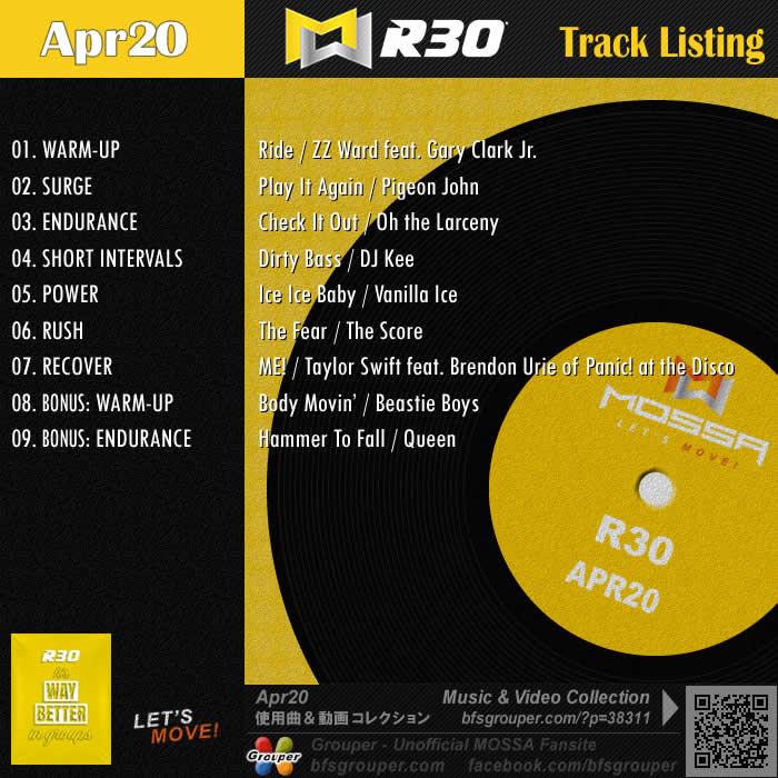R30【Apr20】曲リスト/元曲動画&試聴&曲購入
