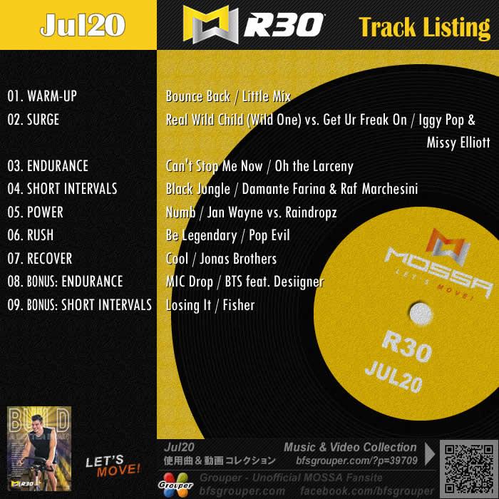 R30【Jul20】曲リスト/元曲動画&試聴&曲購入