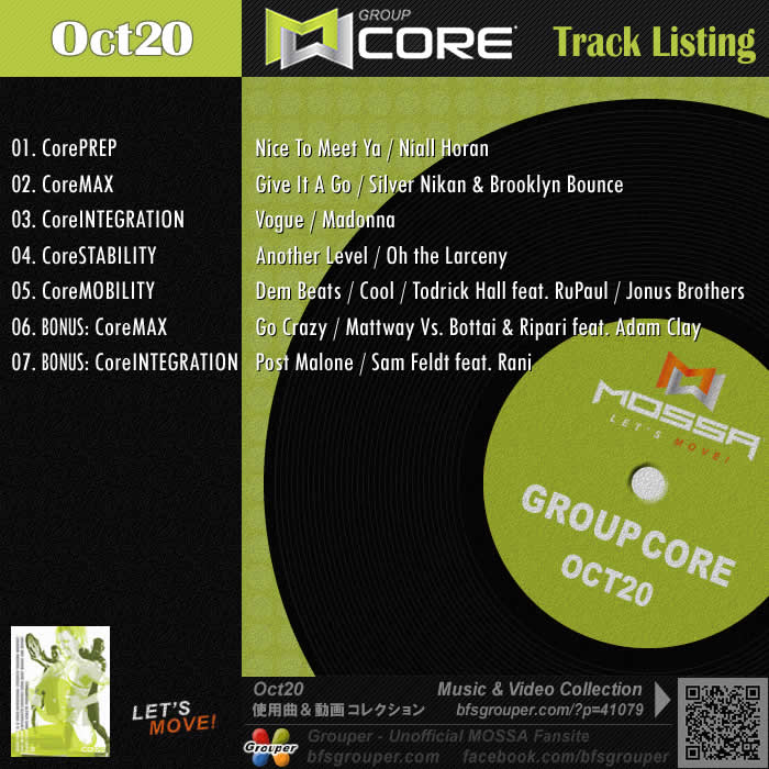 GroupCore【Oct20】曲リスト/元曲動画&試聴&曲購入