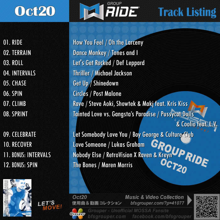 GroupRide【Oct20】曲リスト/元曲動画&試聴&曲購入